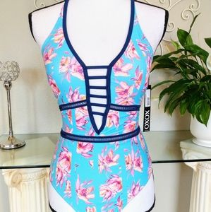 NWT Floral Lace Up One Piece Swimsuit